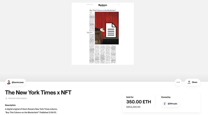The New York Times x NFT screenshot. Izvor: foundation.app