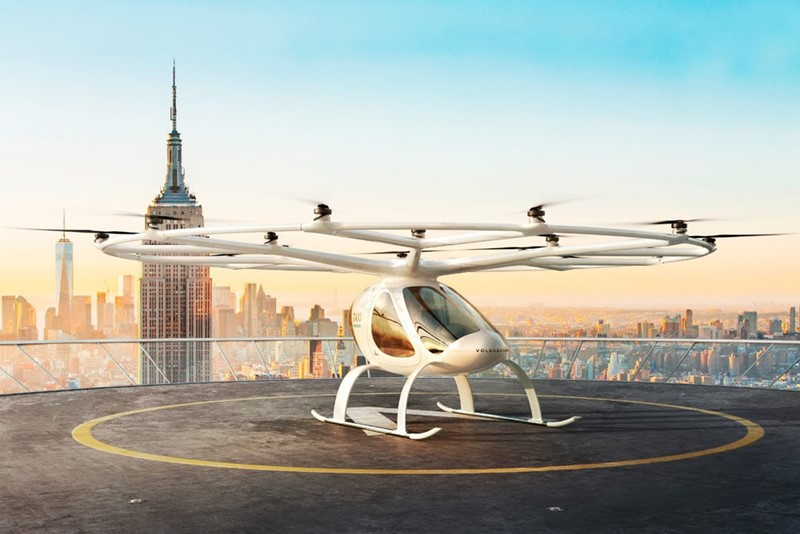 Autonomna električna taksi letjelica Volocopter opremljena je s 18 rotora koji pogone jednako toliko elisa
