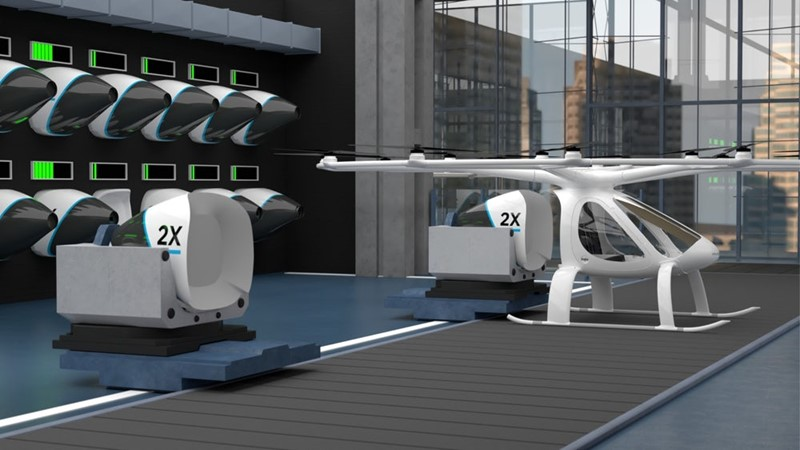 Tvrtka Volocopter je zamislila da baterije na njihovim letjelicama budu zamjenjive što bi tehničku pauzu između dva leta učinilo znatno kraćom nego da se čeka punjenje baterija u pojedinoj letjelici.