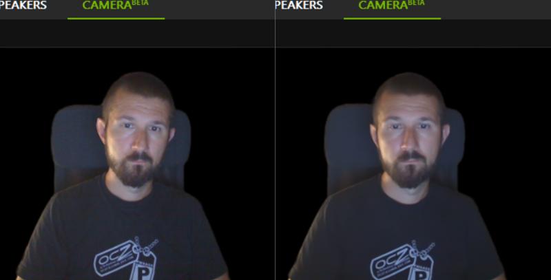Lijevo je normalna snimka s izrezanom pozadinom, a desno nakon primjene filtra za uklanjanje šuma