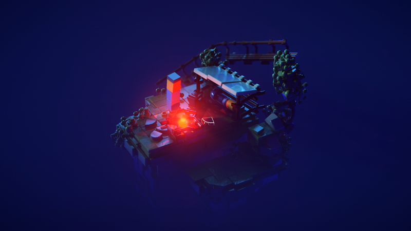 Primjer scene s dva izvora svjetla - mjesecom i logorskom vatrom.  Ovo je varijanta s ray tracingom
