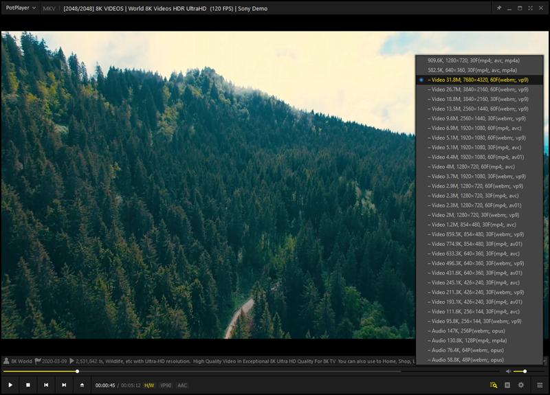 Kad već Chrome ili Firefox neće, PotPlayer hoće – popularni web-preglednici na našem su se stolnom računalu gušili pokušavajući reproducirati 8K video pri 60 sličica u sekundi s YouTubea, no PotPlayer je bez zastajkivanja reproducirao isti taj video, izravno s YouTubea, zahvaljujući iskorištavanju hardverskog dekodera naše grafičke kartice GTX 1660 za kodek VP9, koji je videodekoder opteretio s oko 75%