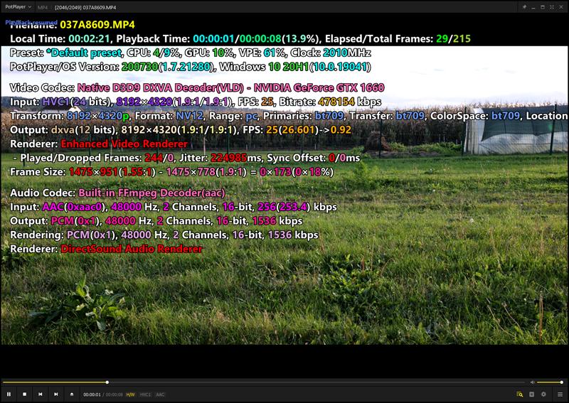 Reprodukcija 8K H.265 videozapisa na stolnom računalu, uz korištenje hardverskog dekodera GeForcea GTX 1660 teče glatko, uz malo opterećenje glavnog procesora te osrednje opterećenje videodekodera grafičke kartice