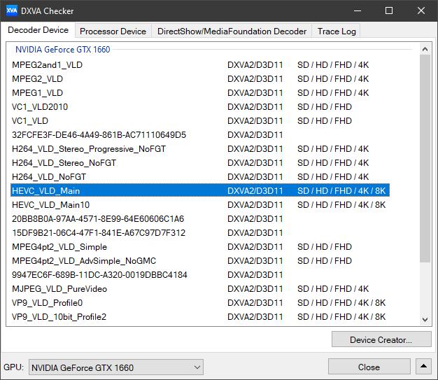 A ovako to izgleda na stolnom računalu, s GTX 1660. Uočite da taj GPU podržava dekodiranje i 10-bitnog HEVC-a do rezolucije 8K. Ujedno uočite da je podržano dekodiranje kodeka VP9 u rezoluciji 8K, no dekodiranje kodeka H.264/AVC podržano je samo do rezoluciije 4K